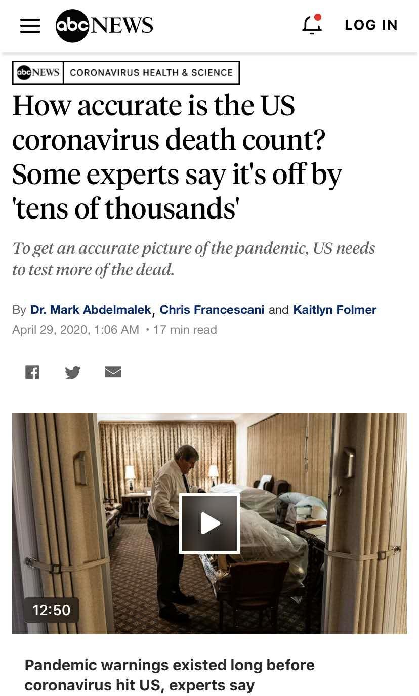 美媒揭新冠肺炎数据漏报瞒报:真实死亡人数或已超10万