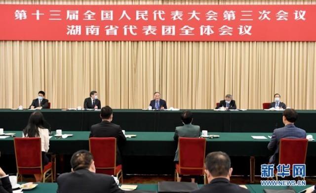 王岐山参加湖南代表团审议强调:保持定力恒心 确保伟大复兴航船行稳致远