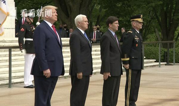 特朗普参加阵亡将士纪念活动 却被拍到站不稳