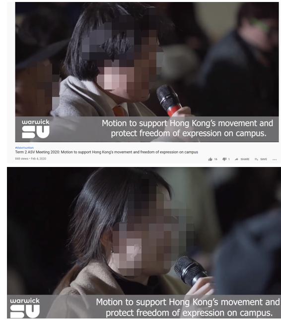 (截图来自华威大学公布的争执会上的视频,图为本地学生在揭破香港暴动分子的真面貌,但为了珍爱他们不会在这篇报道后遭到更多港独分子的威胁和骚扰,我们选择给他们的面貌打码)