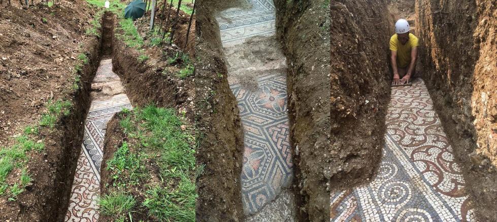 意大利考古学家发现保存完好的古罗马马赛克地板