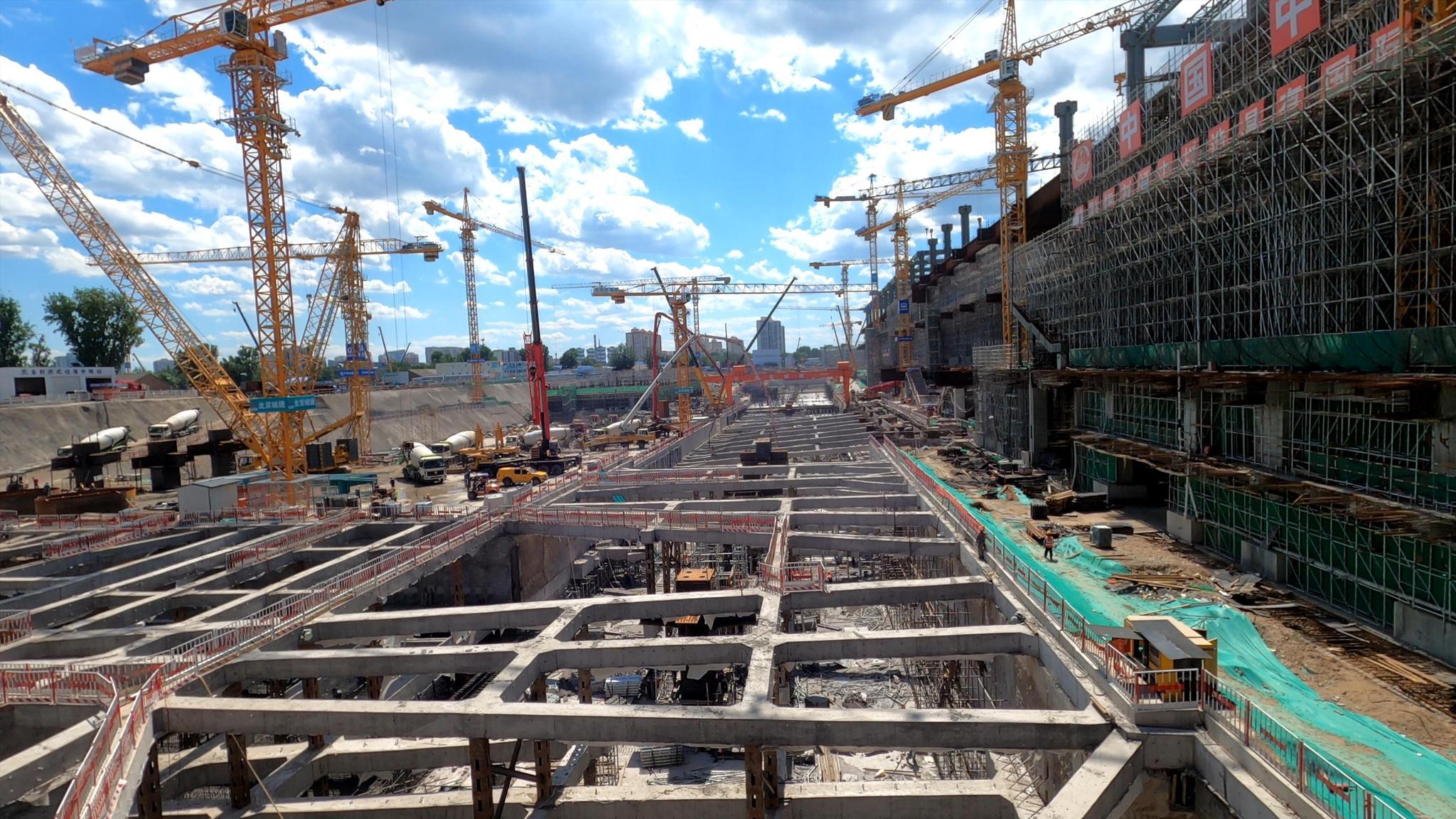 地铁16号线丰台站正在施工的9-19流水段。北京市庞大项目办供图