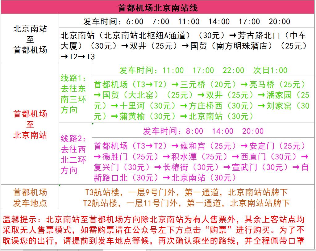 北京民航机场巴士:首都机场至北京南站及北京站线将恢复