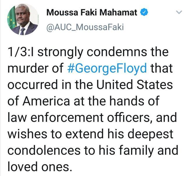 非盟主席法基强烈谴责美国暴力执法致黑人男子死亡事件