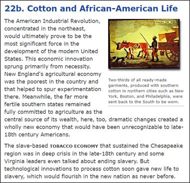 ▲《美国历史》官网关于黑人从事棉花采摘的记载