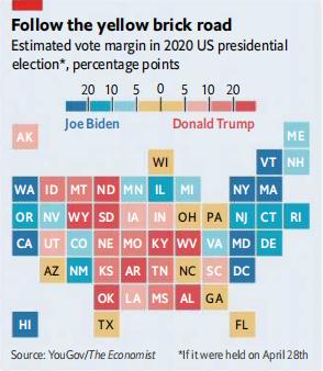 (模型预测2020大选拜登与特朗普在各州的选票差 图源:经济学人)