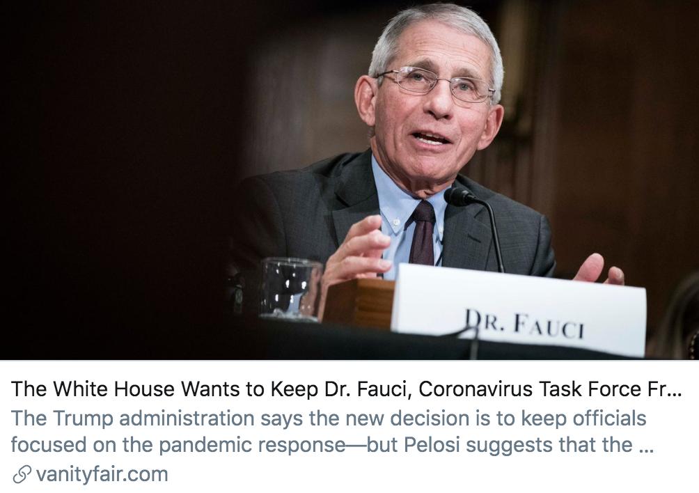 """白宫希望阻止福奇及""""应对疫情工作组""""成员向国会""""泄密""""。/ 《名利场》杂志报道截图"""