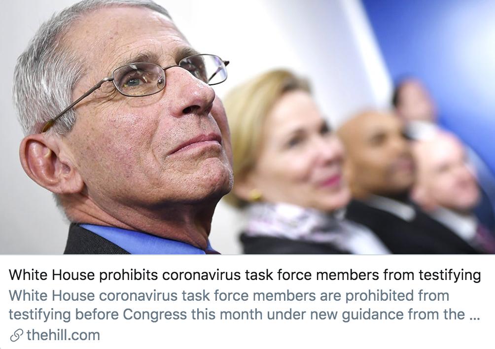 """白宫禁止""""应对疫情工作组""""的成员向国会作证。/ 《国会山报》报道截图"""