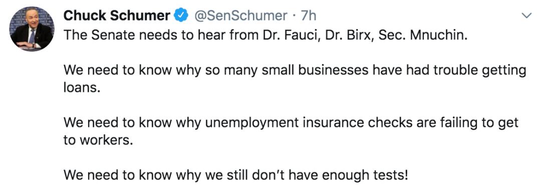 """舒默在社交媒体推特上发文称,""""参议院需要听一听福奇、比尔克斯和姆努钦的意见""""。/ 推特截图"""