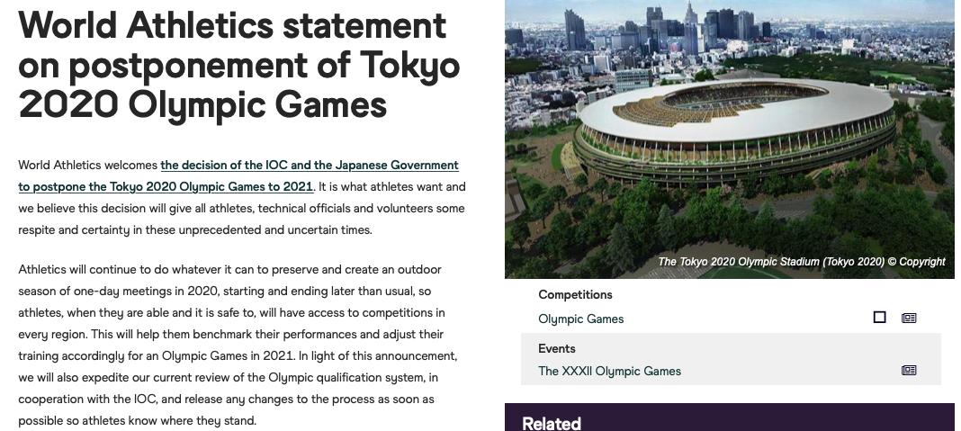 世界田联是最早发声力挺IOC决定的单项组织之一。网络截图
