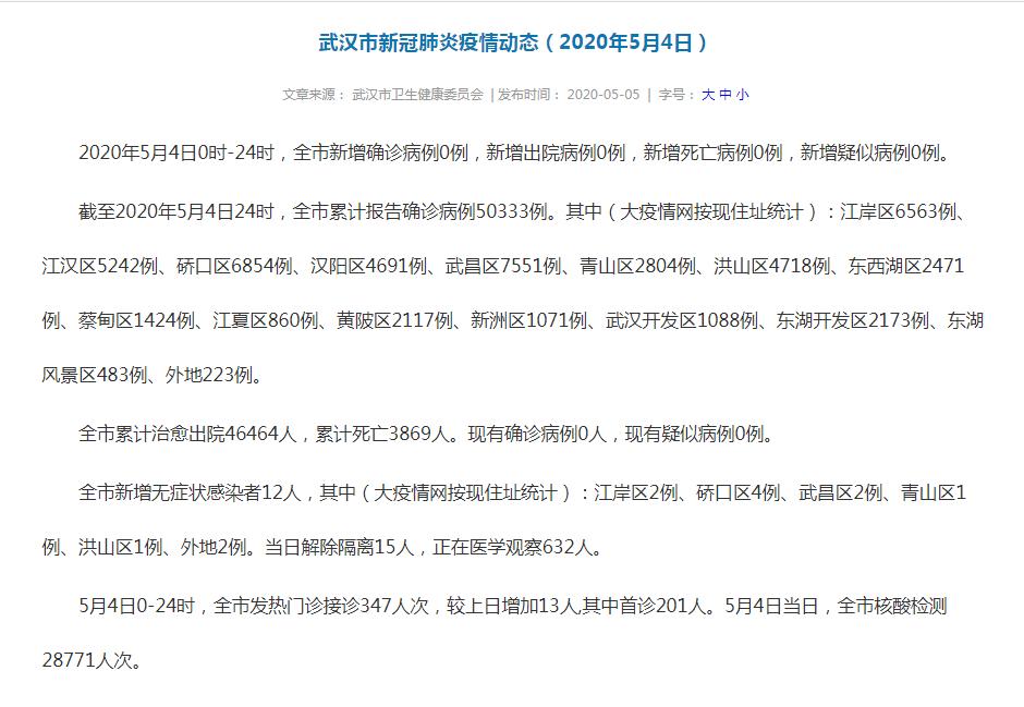 武汉卫健委:新增无症状感染者12人,发热门诊接诊347人次