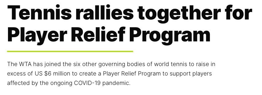 七大网球组织已共同筹集善款超600万美元。WTA官网截图
