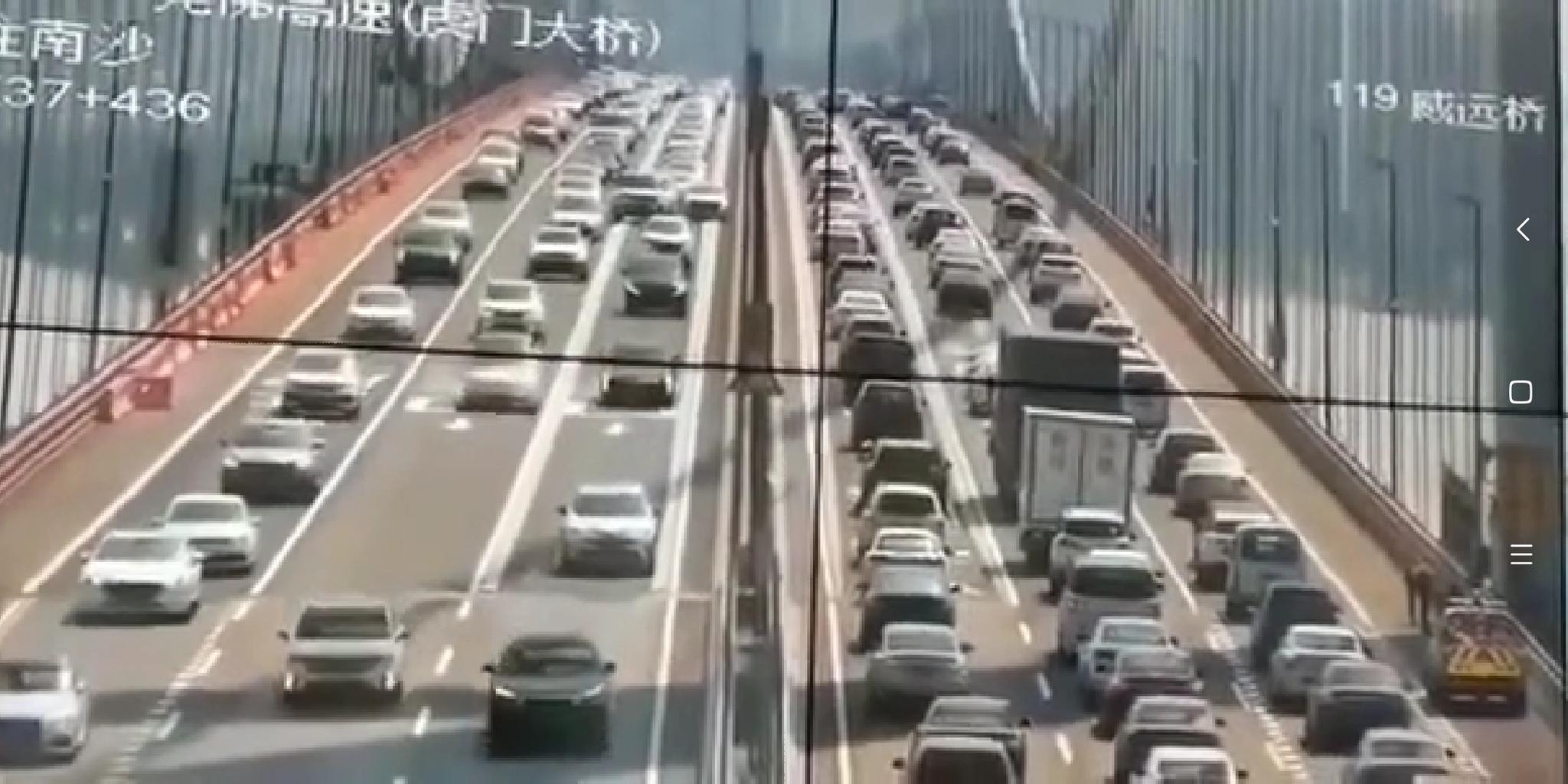 5月5日,虎门大桥发生上下波动,途径车辆车主有明显感觉。 视频截图