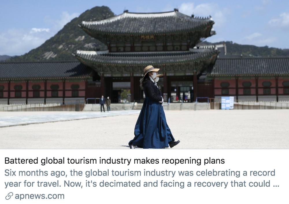 """饱受打击的全球旅游业制定了""""重新开放""""的计划。/美联社报道截图"""