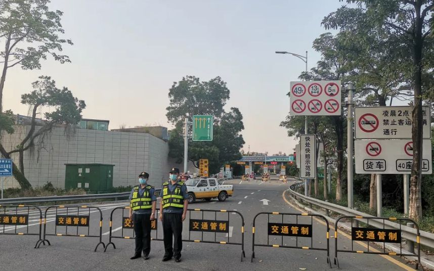 5月5日下午起,虎门大桥实行交通管制。图片来源:广东交通集团公号