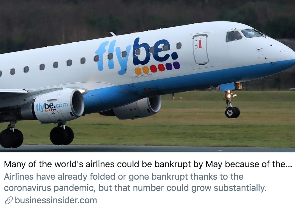 航空顾问机构指出,新冠肺炎疫情导致许多航空公司或将在5月底破产。/《商业内幕》杂志报道截图