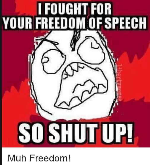 """(图片来自收集,意思为:""""我在为你夺取谈吐自由,以是你快闭嘴吧!"""")"""