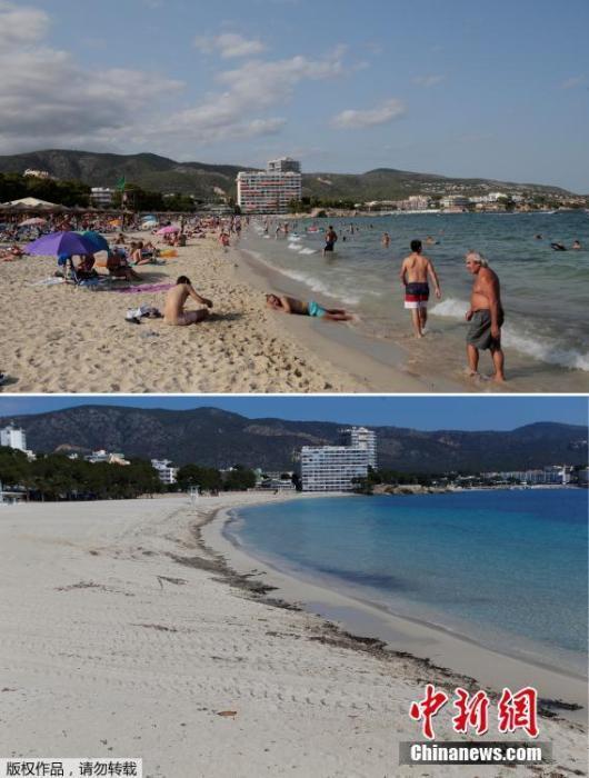 上图为2017年8月19日帕尔马诺娃(Palmanova)海滩上的游客。下图为2020年4月9日西班牙帕尔马诺娃海滩上空无一人。