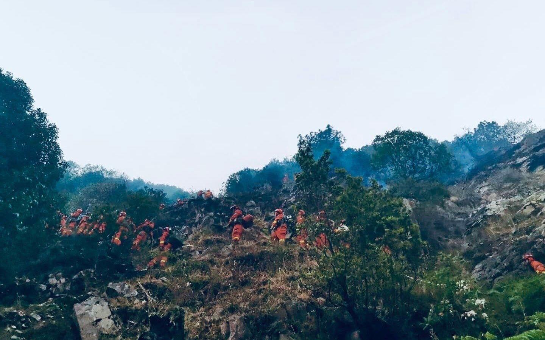 凉山森林大火仍未扑灭,消防人员通过火烧痕迹寻起火源图片