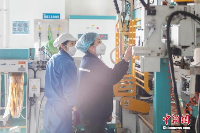 资料图:员工在生产车间工作。中新社记者 吕品 摄