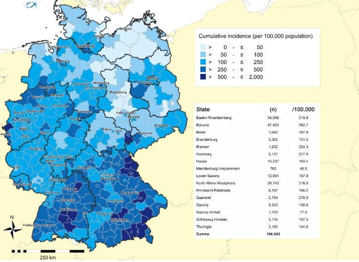 德国累计病例分布 图表来源:罗伯特·科赫研究所