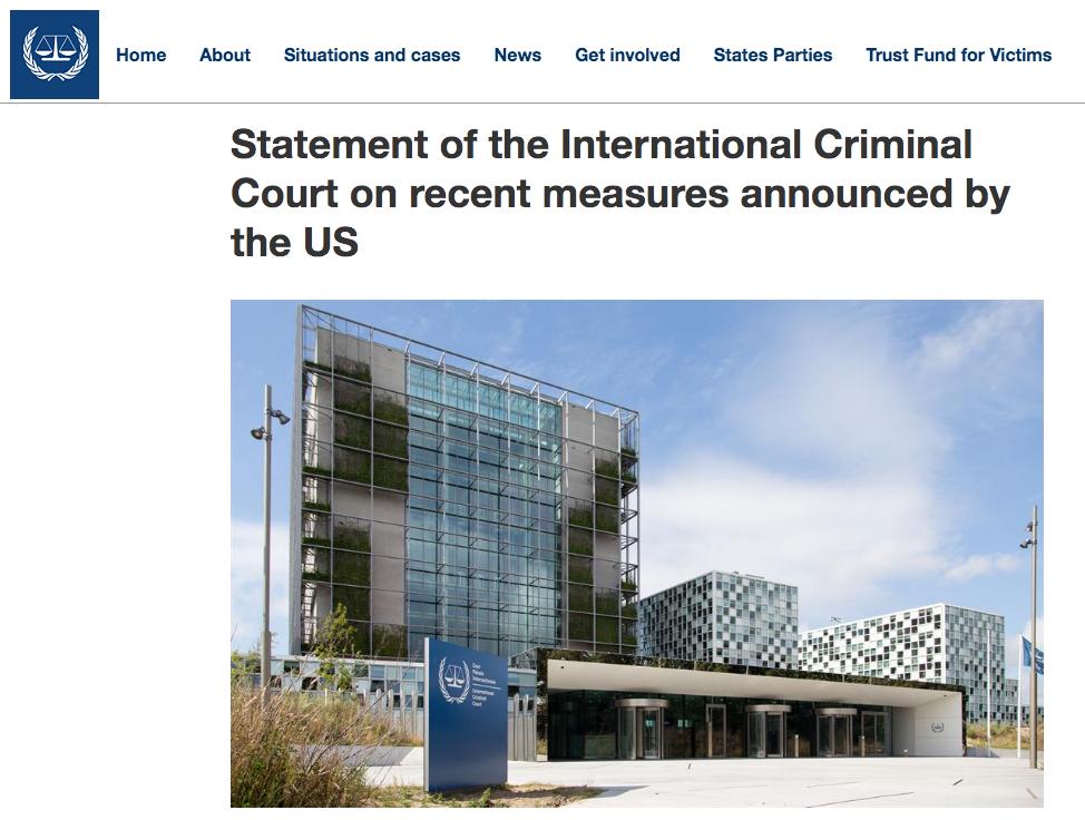 国际刑事法院11日发布声明。/ICC官网截图
