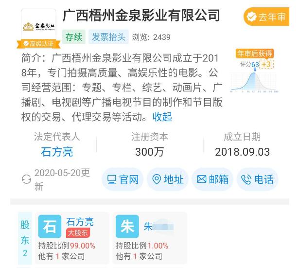 ▲石方亮是广西梧州金泉影业有限公司法定代表人