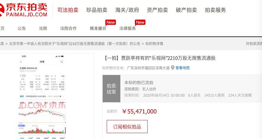 贾跃亭所持乐视网股票拍卖流拍:1.45万人围观0人报名图片