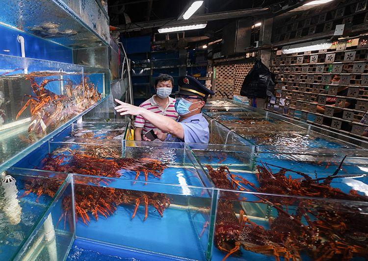 在海鲜水产大厅一家摊位前,市场监管局工作人员检查商户经营环境、食品质量等。