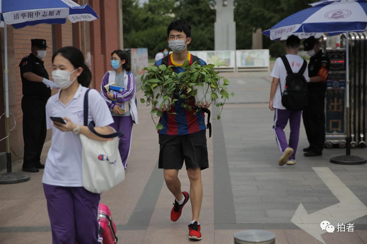 △6月17日,清华附中门口,一名门生抱着两盆绿植离校。拍照/新京报记者郑新洽
