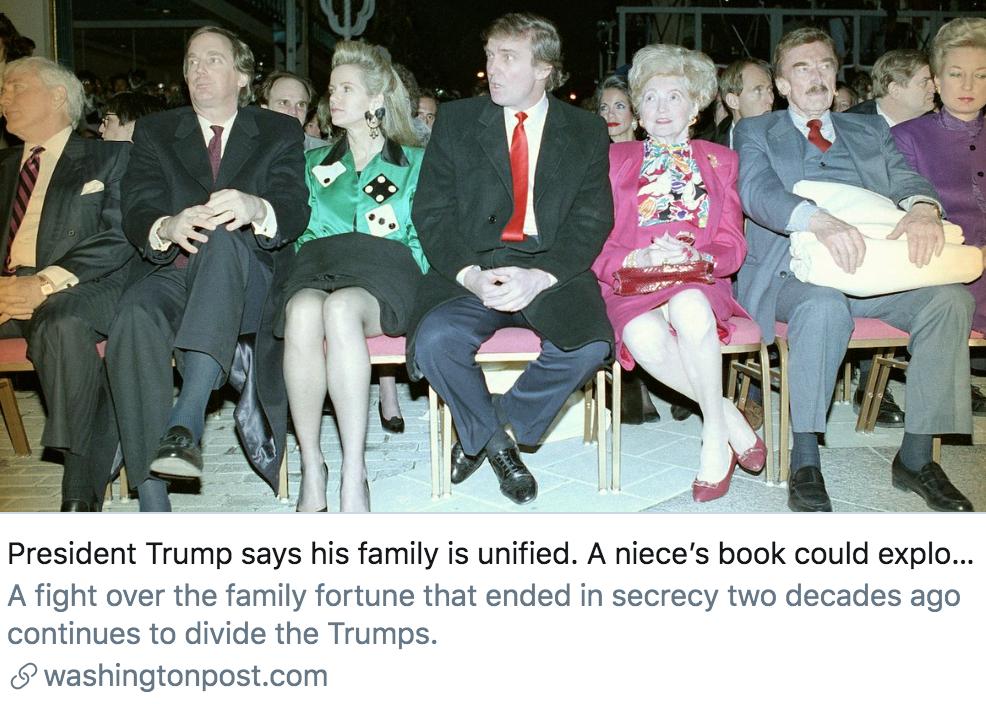 """▲特朗普说他的家庭很""""和谐"""",其侄女的新书可能会破坏这种情况。/ 《华盛顿邮报》报道截图"""