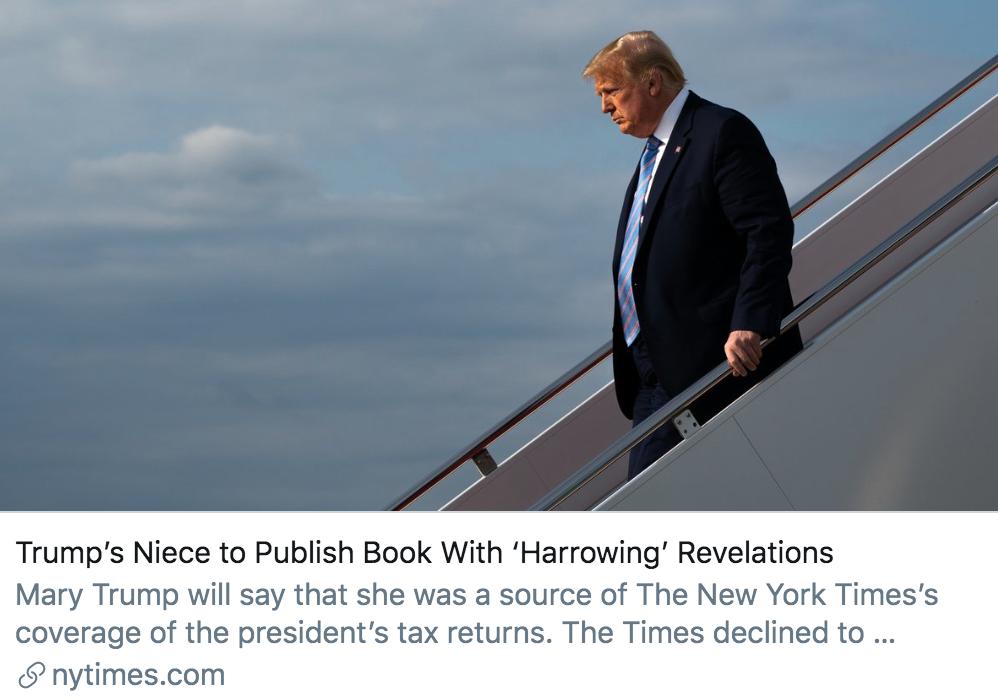 """▲特朗普侄女将出版一本揭露""""悲惨""""的书。/ 《纽约时报》报道截图"""