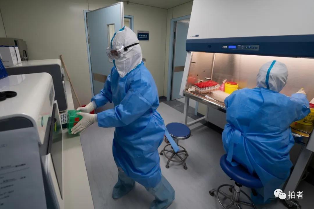 △核酸提取区,磨练技师将装有样本的预制板转移到核酸提取仪。