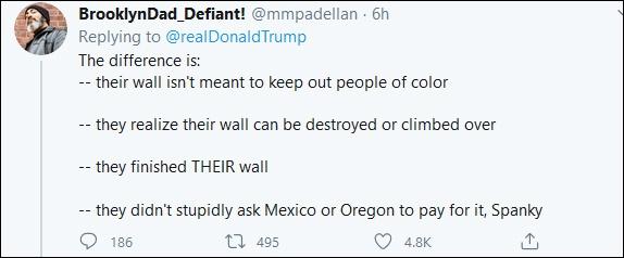 """""""他们造了墙,但他们可没花掉纳税人数百万美元。"""""""