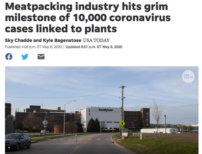 5月,与美国肉类加工厂相关的新冠病例过万。/今日美国网站截图