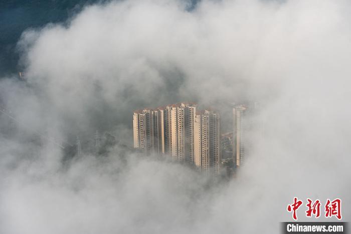 平流雾笼罩,梧州城宛如梦幻仙境。 何华文 摄