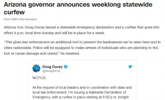 快讯!亚利桑那州州长进入紧急状态并实施宵禁一周