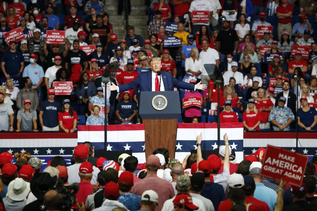 特朗普在俄克拉何马州塔尔萨举办的室内竞选集会。图源:美联社(AP)