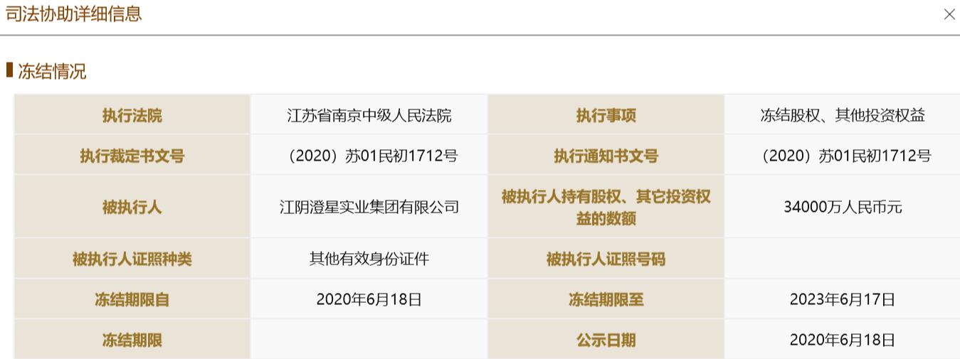 【摩天测速】券后澄星集团所持摩天测速苏民投股权图片