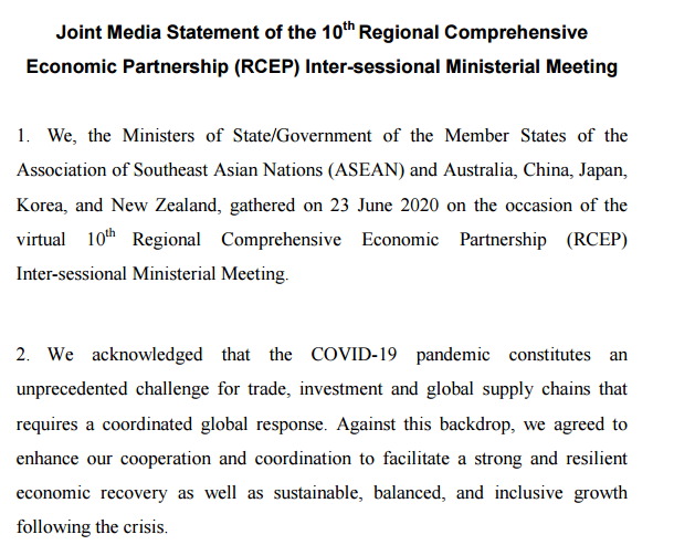 RCEP今年签署,部长级会议强调RCEP将对印度保持开放图片