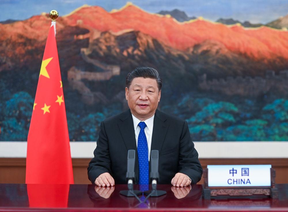 2020年5月18日,习近平主席在第73届天下卫生大会视频集会开幕式上致辞。新华社记者 李学仁 摄