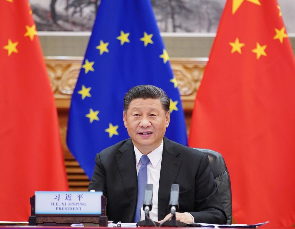 2020年6月22日晚,习近平主席在北京以视频方法访问欧洲理事会主席米歇尔和欧盟委员会主席冯德莱恩。新华社记者 王晔摄