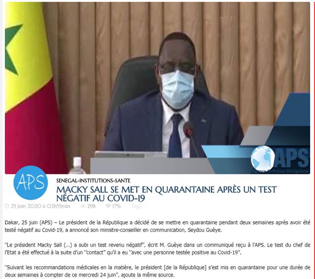 塞内加尔总统萨勒因接触新冠肺炎确诊病例进行两周自我隔离
