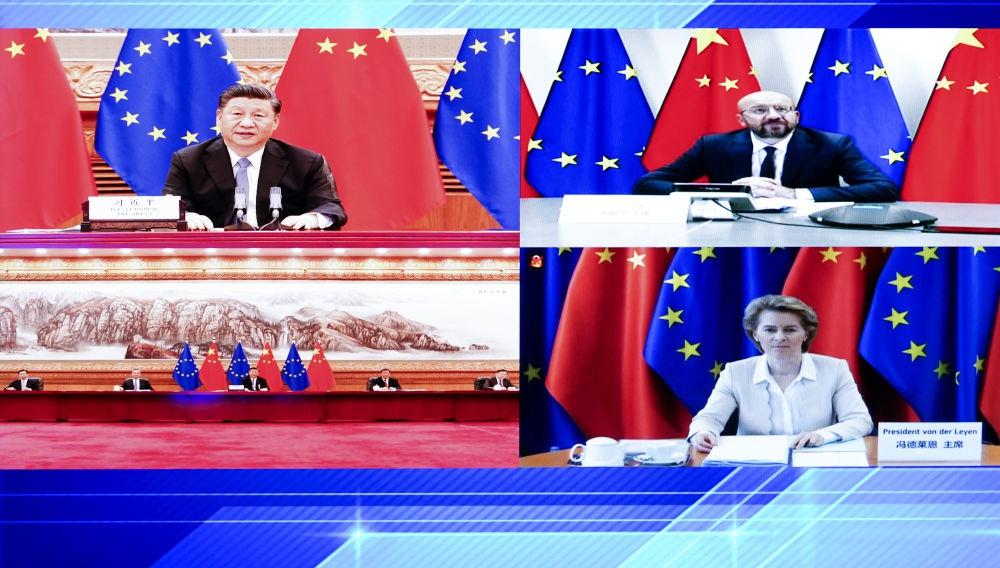 2020年6月22日,习近平主席访问欧洲理事会主席米歇尔和欧盟委员会主席冯德莱恩。新华社记者 燕雁 摄