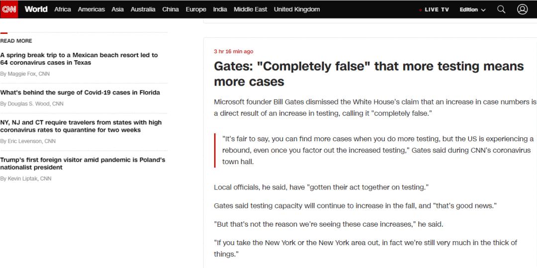 """CNN:盖茨称检测越多意味着确诊越多""""完全错误"""""""