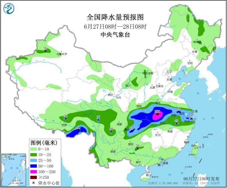 天下降水量预告图(6月27日08时-28日08时) 图片泉源:中心景象台网站