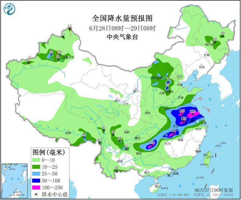 天下降水量预告图(6月28日08时-29日08时) 图片泉源:中心景象台网站