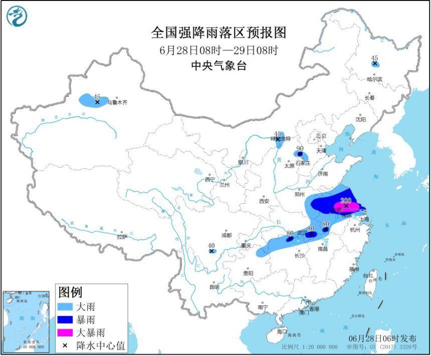 暴雨黄色预警:7省市有大到暴雨 安徽江苏局地大暴雨图片