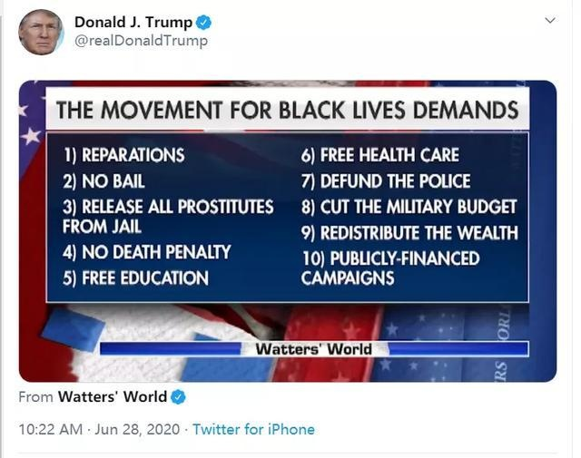 """福克斯新闻列""""反歧视黑人运动""""10条诉求,被发现措辞大有玄机"""