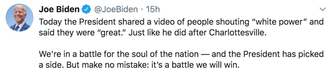 拜登推特截图。
